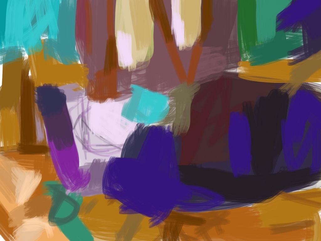 青と茶の色ぬり絵の作品画像