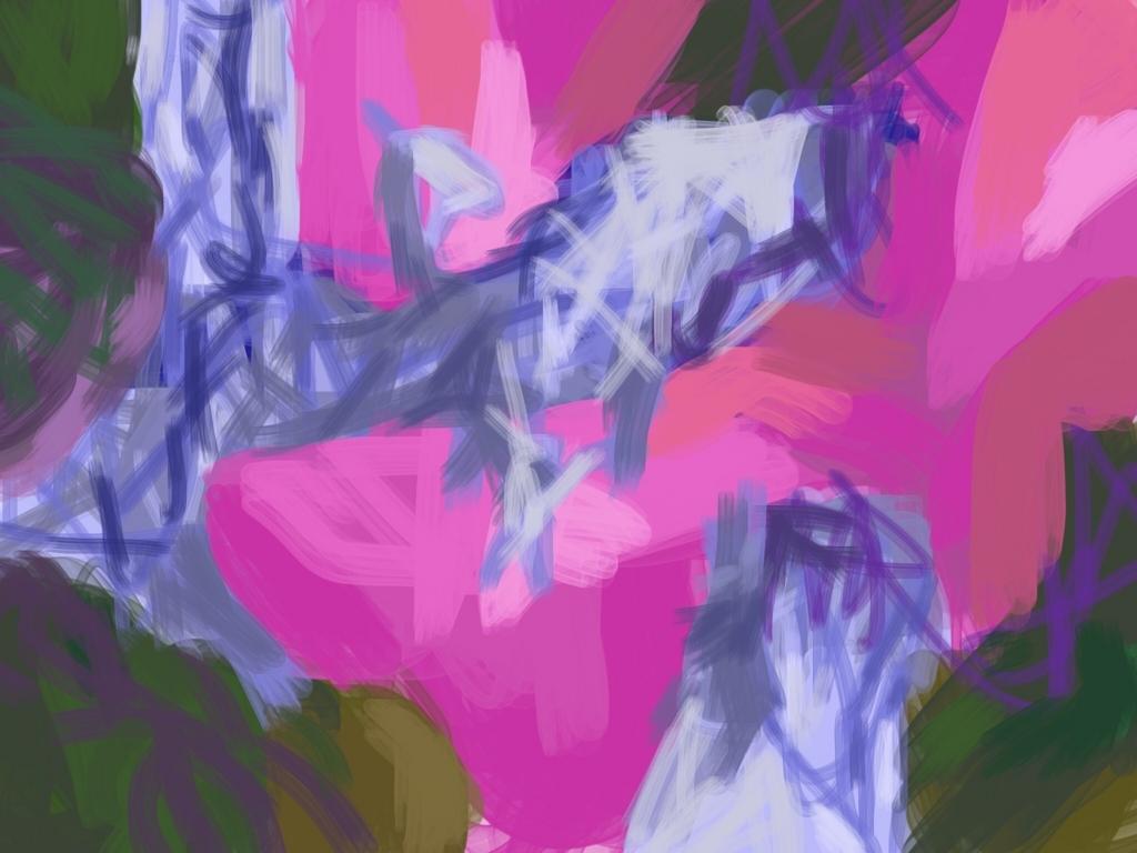 ピンクの色ぬり絵の作品画像