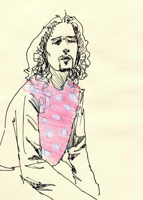 ピンクの服を着た男のスケッチ画作品