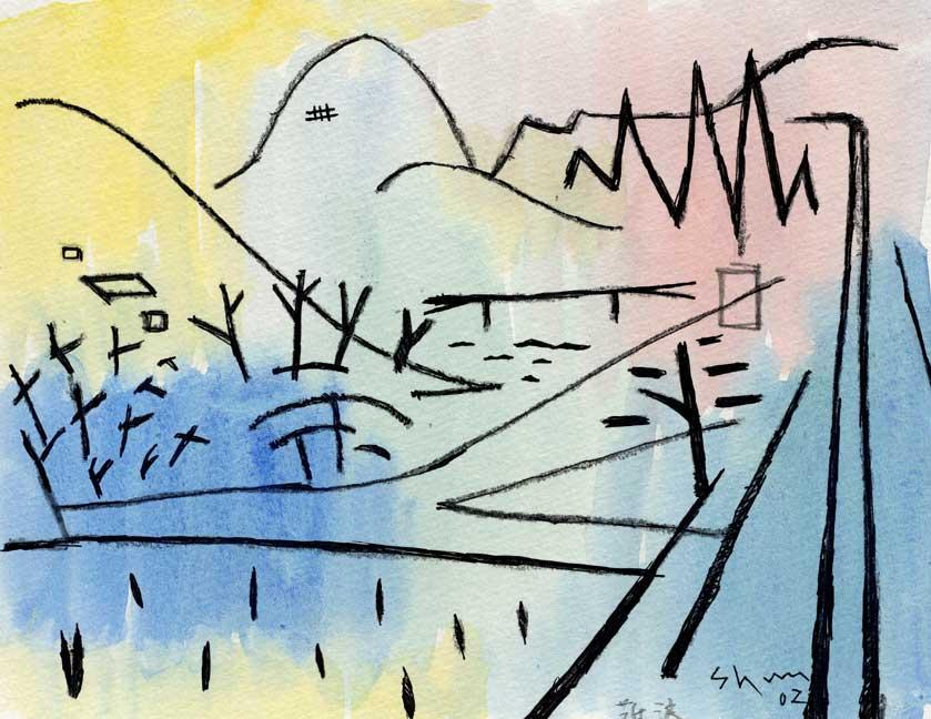 山の景色の抽象画作品