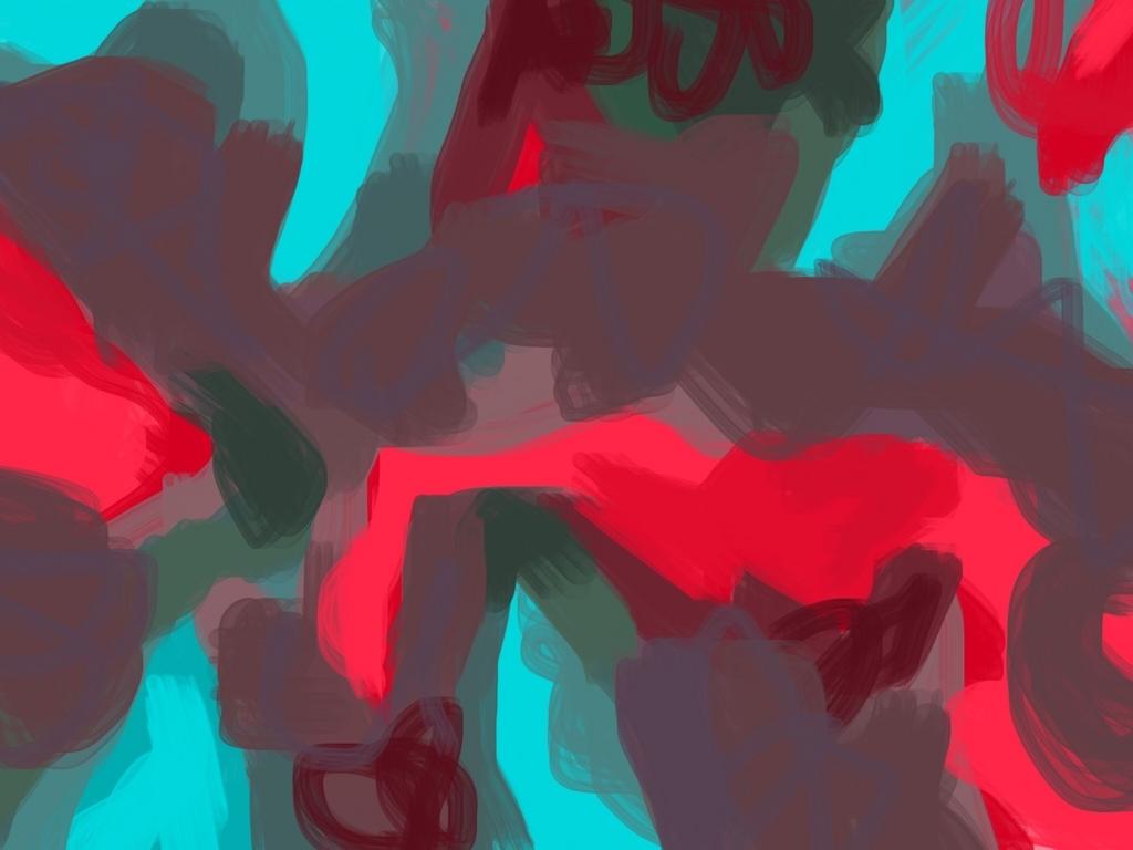 赤の色ぬり絵作品