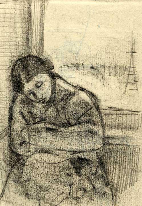 眠る女の素描画