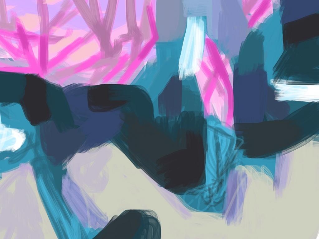 青と赤の色ぬり絵作品