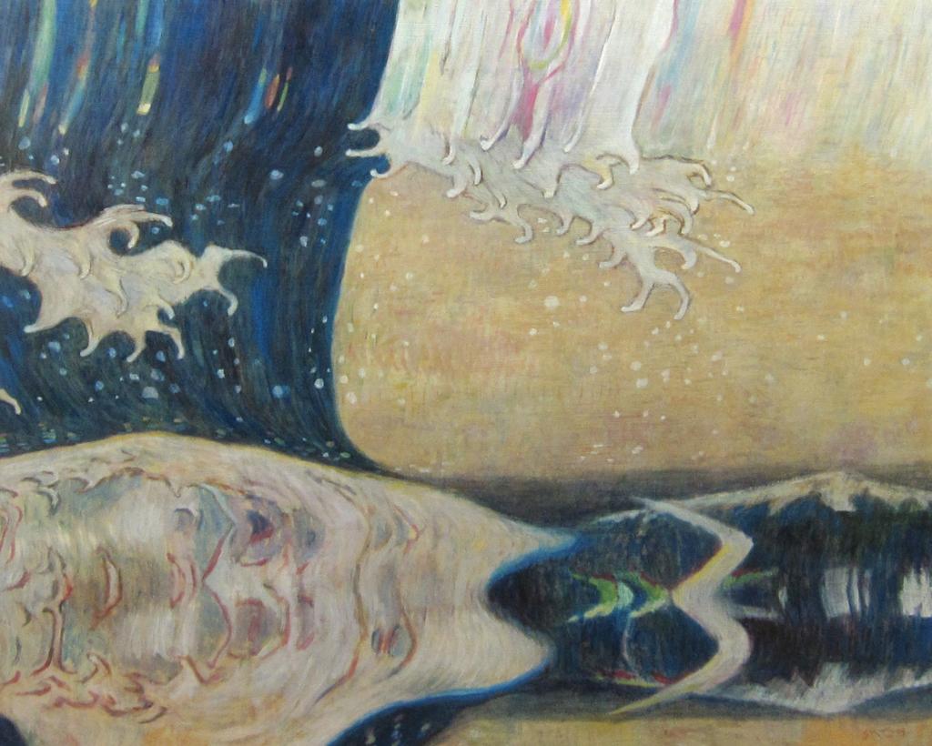 サイケデリックな波の油彩画作品