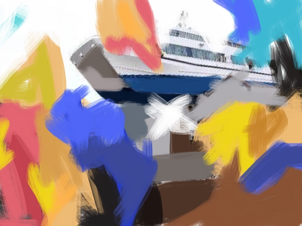 船のあるぬり絵作品