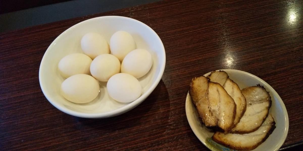 チャーシューとゆで卵食べ放題