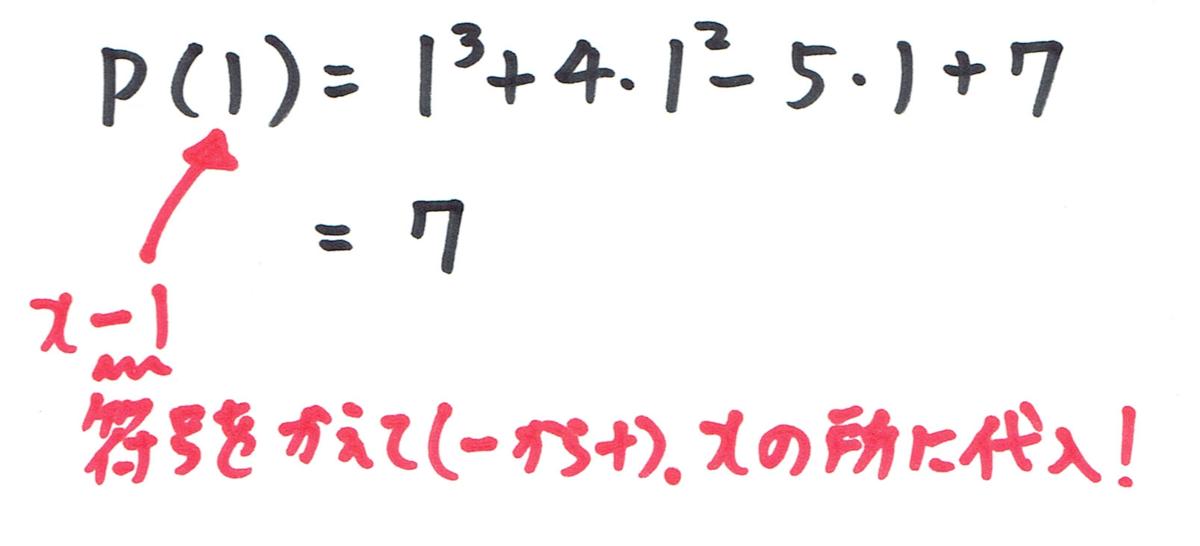 剰余の定理の答え。xのところに1を代入。