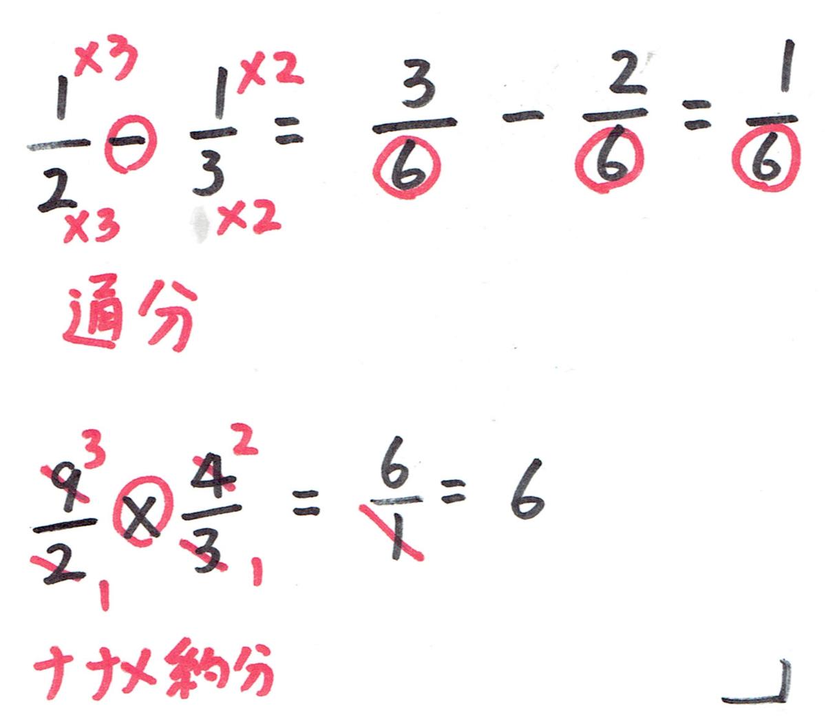 たし算、引き算は通分。かけ算はナナメ約分。
