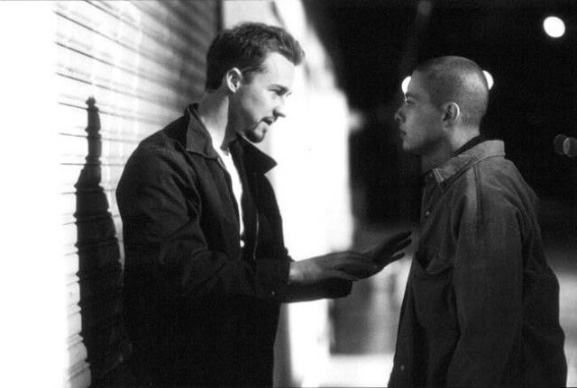 one young man and one boy talking from the scene american history x