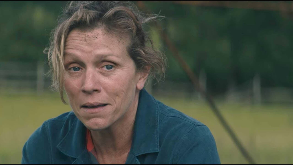 middle age lady from the scene of Three Billboards Outside Ebbing, Missouri