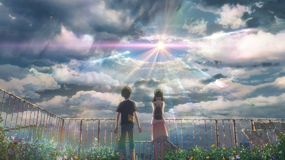 one scene from weathering with you, one young boy and girl standing and looking at while sun rising