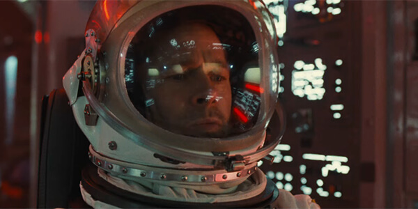 Brad Pitt in the movie Ad Astra with space clothing