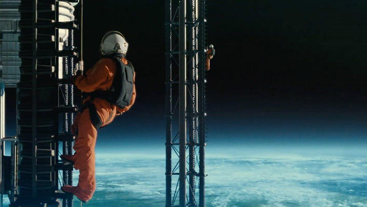 one astronaut looking a beatiful sky on earth from movie Ad Astra