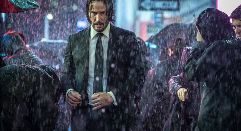john wick in rainy day from movie John Wick Parabellum