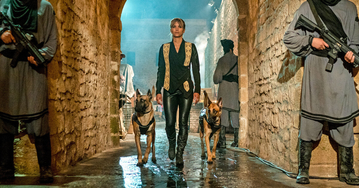 One sexy lady with two aggressive dogs from movie John Wick Parabellum