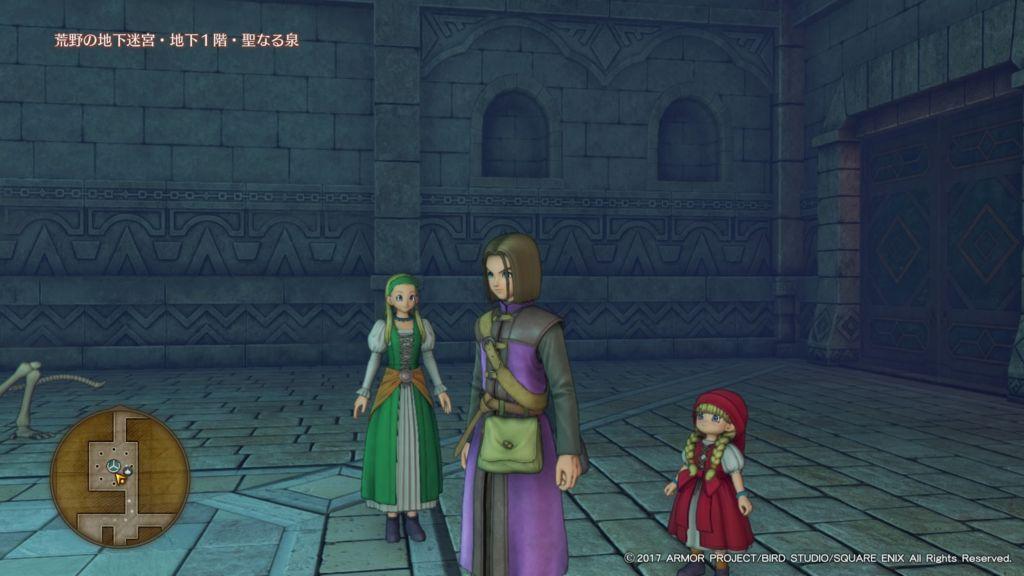 ドラクエ11の主人公とセーニャとベロニカが荒野の地下迷宮にいる
