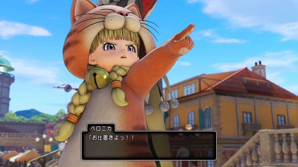 ドラクエ11のネコのかぶりものとネコのきぐるみを着たベロニカ