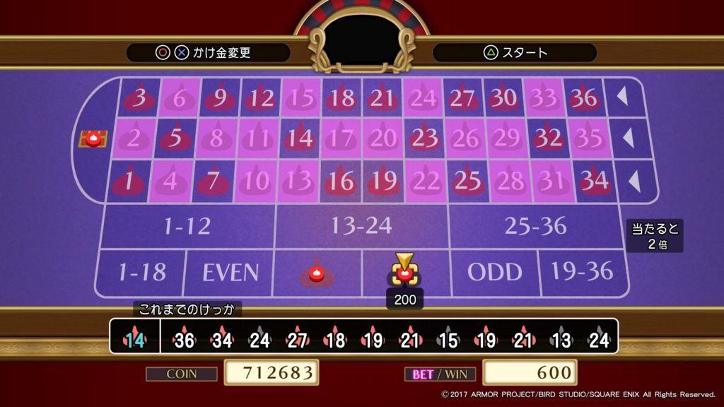 ドラクエ11のカジノの200枚台のルーレットで全賭けをしてジャックポットを狙う