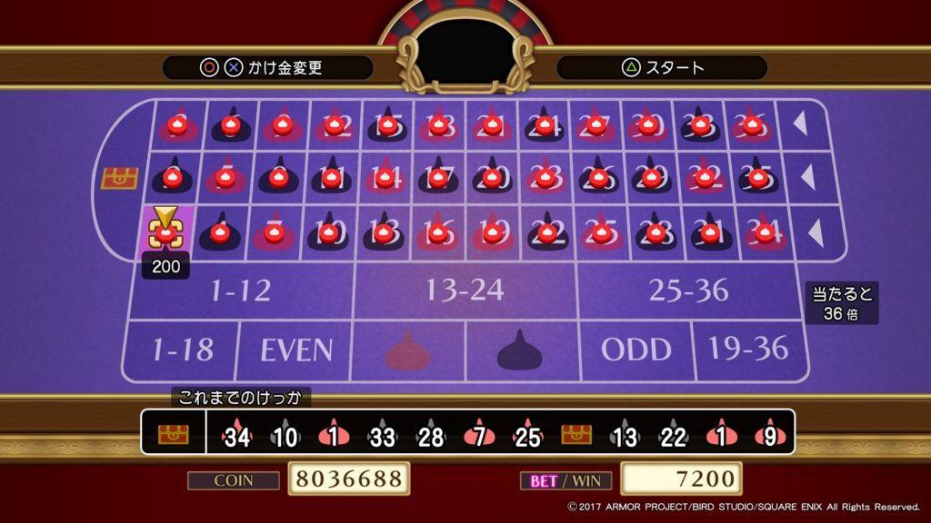 ドラクエ11のグロッタの町のカジノのルーレットで1点賭けをしてジャックポットを狙う