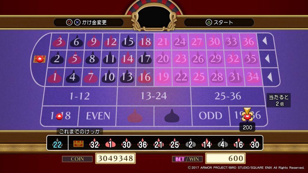 ドラクエ11のグロッタの町のカジノのルーレットで全賭けをしてジャックポットを狙う