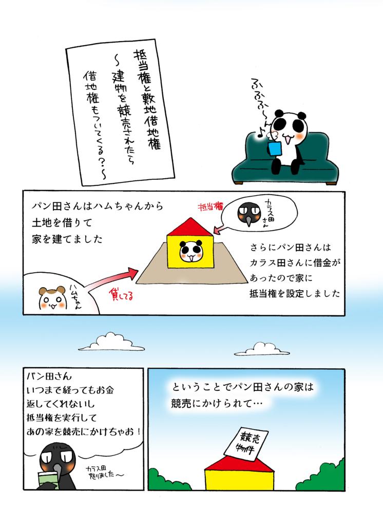 『抵当権と敷地借地権』解説マンガ1ページ目