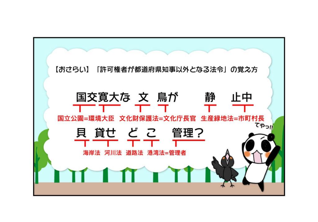 『許可権者が都道府県知事以外となる自然公園法、河川法等の7つの法令の覚え方』3ページ目