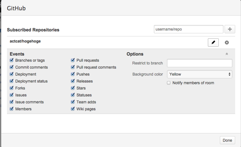 HipchatにGitHubを連携した場合のリポジトリ追加の詳細イメージ