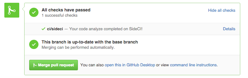 Pull Request画面のSideCIステータスイメージ