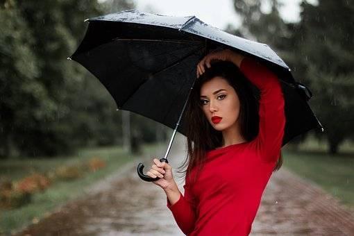 女性が傘をさしてる