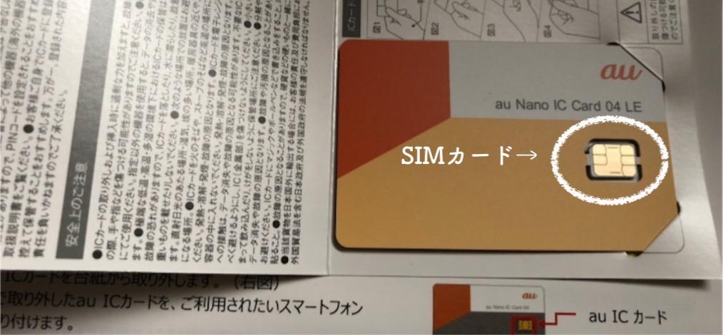 SIMカードの台紙