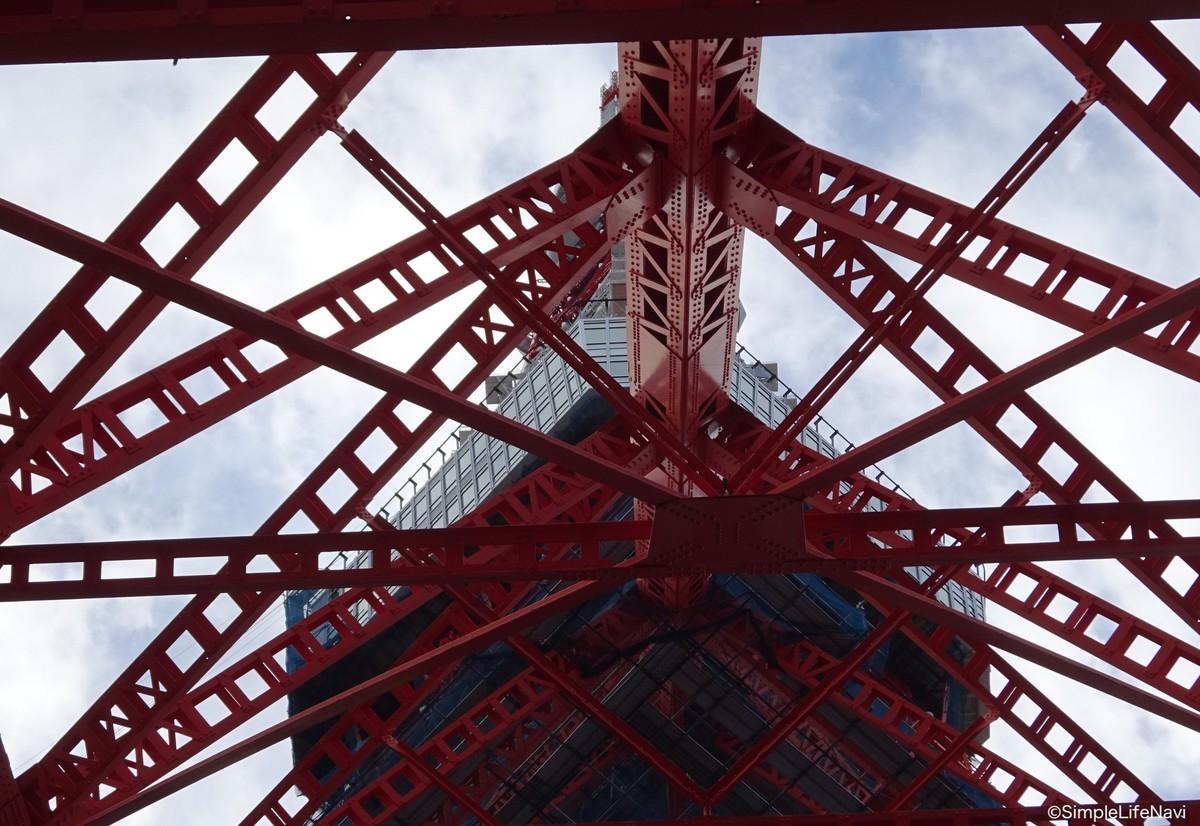下から東京タワーを見上げる