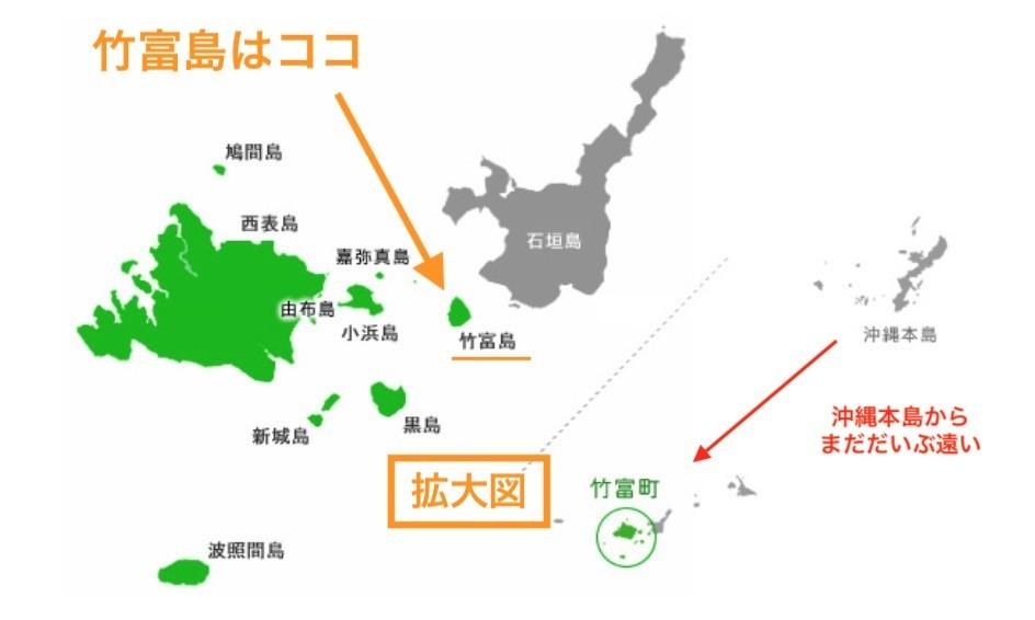 石垣島と竹富島の位置
