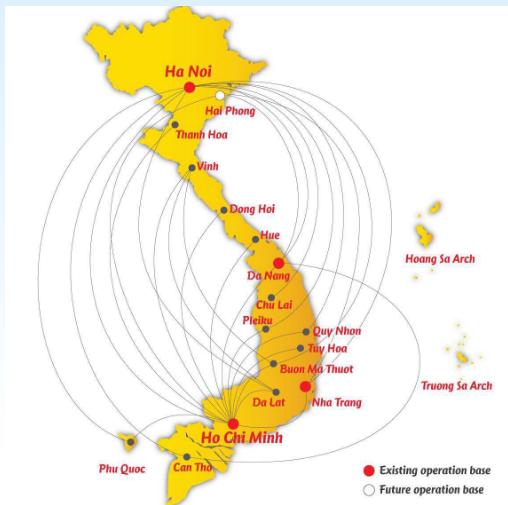 ベトナム国内の就航マップ