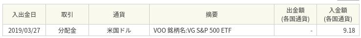 バンガード S&P 500 ETF(VOO) から分配金