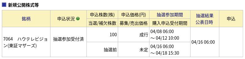 【IPO】みずほ証券で(7064)ハウテレビジョンに申し込みました