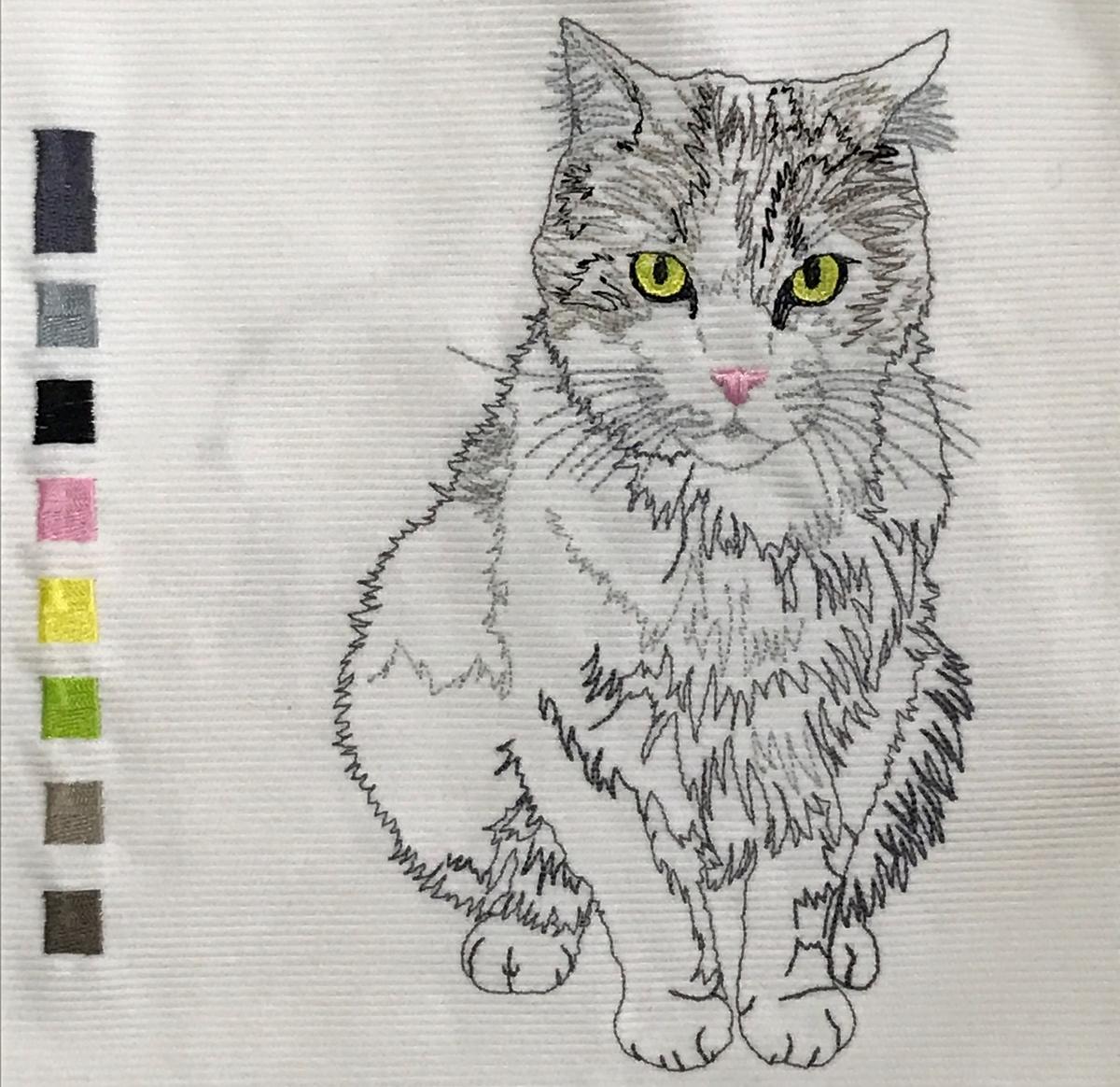 猫の刺繍 きーちゃん