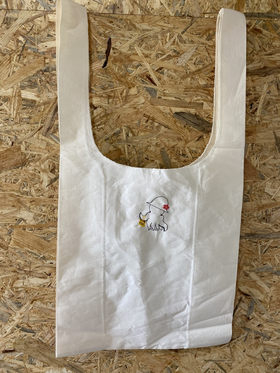 小さな上絵付け教室StadioKitten の、りささんのイラスト刺繍入り マルシェバッグ