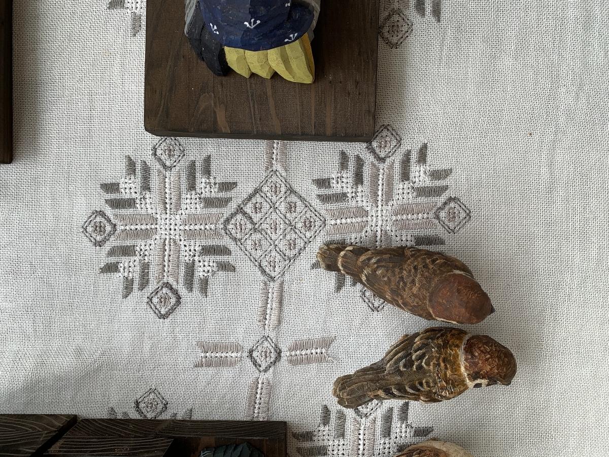 スズメと刺繍