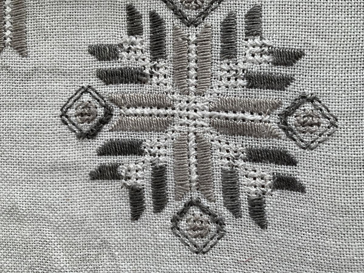 テーブルクロスの刺繍