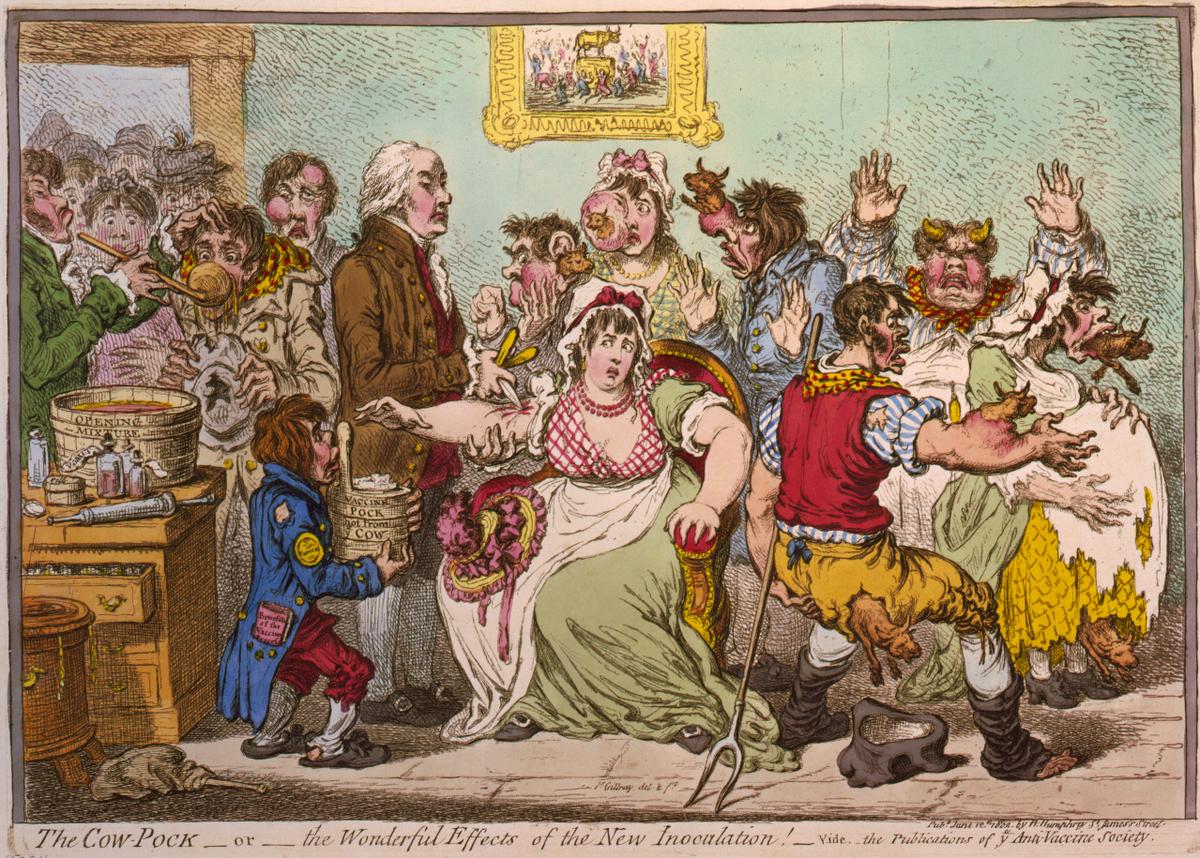 人びとは牛痘を人間に植え付けることに抵抗感をもち、普及には時間を要した