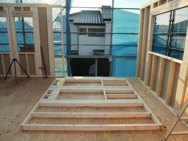 2階の壁、施工途中
