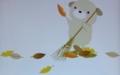 [イラスト][食欲の秋][いぬ]落ち葉集め