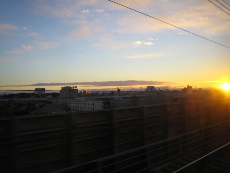 2005年の初日の出 新幹線から (愛知県)
