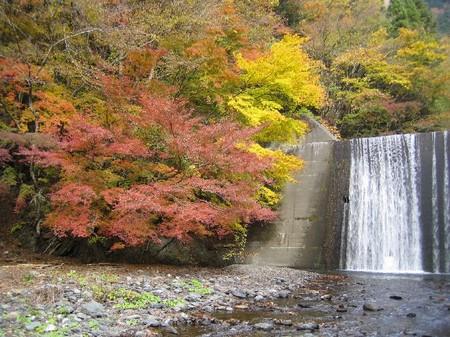 紅葉と人工滝(静岡県静岡市)