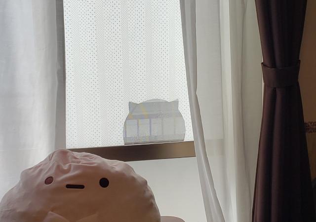 窓にマスキングテープを貼った様子