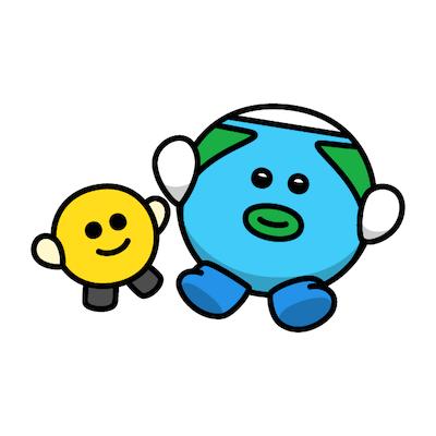 エキストラの方(左)と地球くん(右)