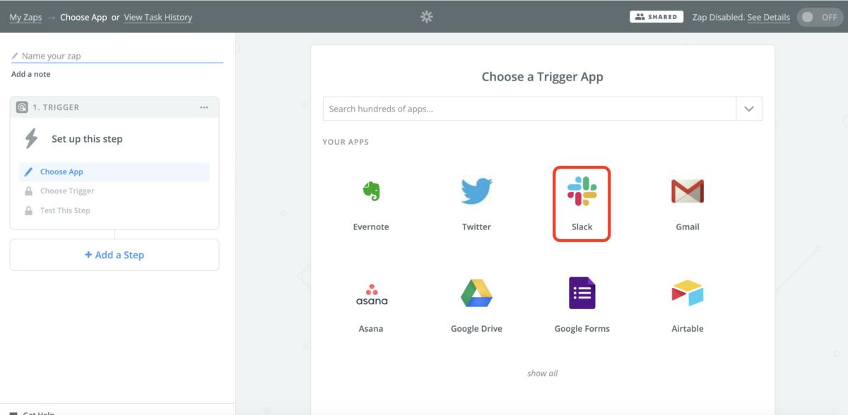 Zapのトリガー作成画面。Slackをはじめ、主要なサービスはほぼ連携できます