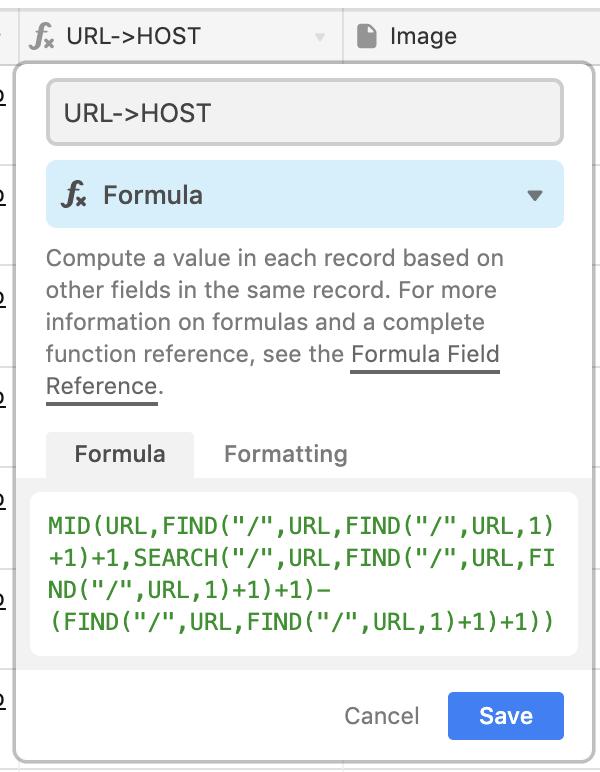 URLのレコードからホスト+ドメインだけを抜き出して記録する式