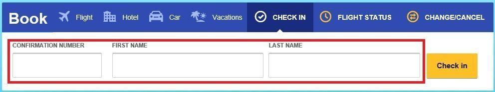 サウスウエスト航空のチェックイン画面