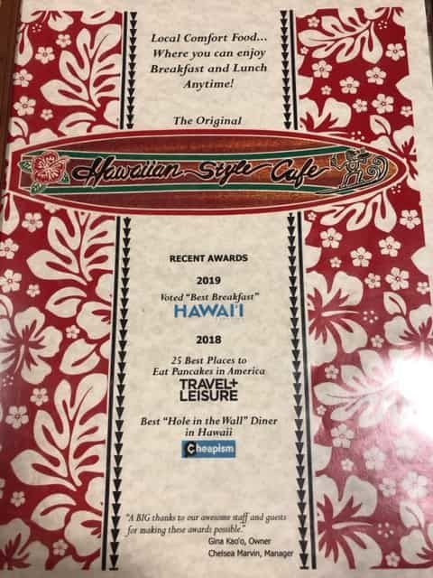 ハワイアンスタイルカフェワイメアのメニューの表紙